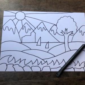 landscape black pen