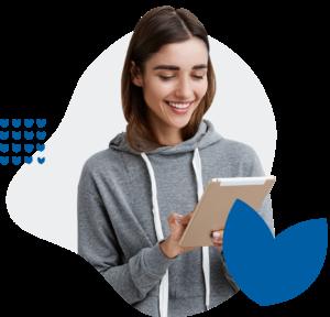 Young woman using Surrey Virtual Wellbeing Hub