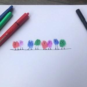 Row of finger birds