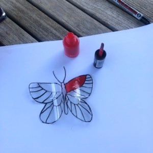 Apply nail polish to butterfly
